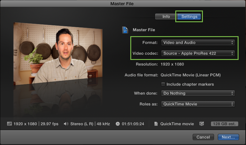 How do I export a high quality movie from Final Cut Pro (or