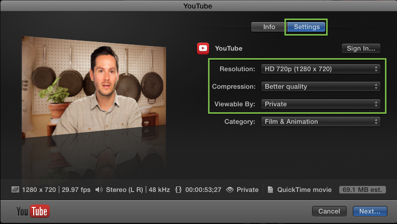 FCP X youtube settings