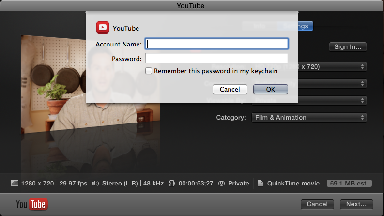 FCP X youtube sign in